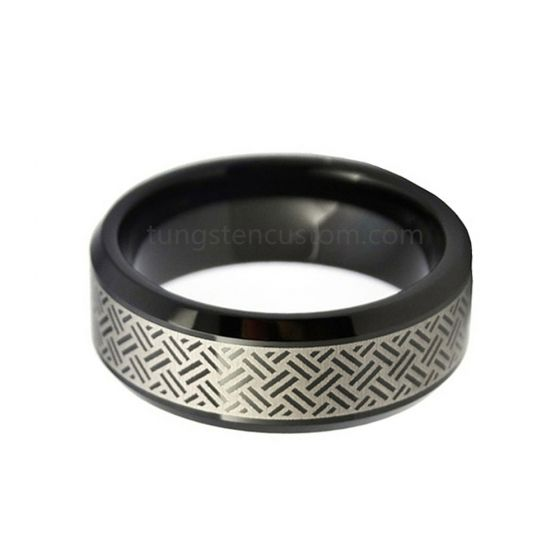 8mm Black Celtic Tungsten Ring Mens Wedding Bands Beveled Edge