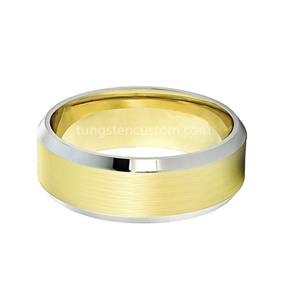 8mm Gold Plated Silver Beveled Edge Men Brushed Tungsten