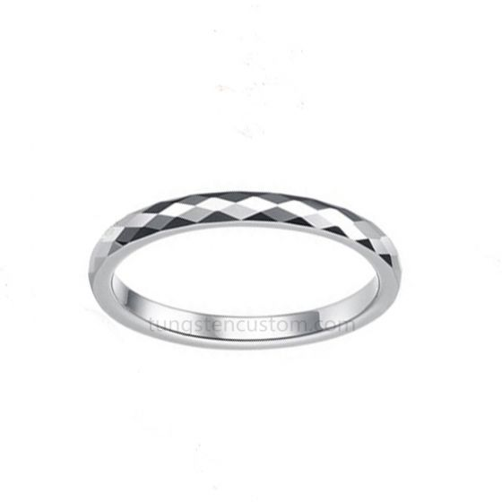 Tungston Carbide Wedding Rings.Couples Jewelry 2mm Multi Faceted Tungsten Carbide Wedding Ring