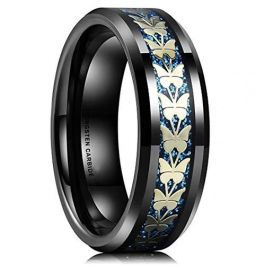 Butterfly Ring Butterfly Jewelry Butterfly Wedding Band 6mm Blue Tungsten Band with Flat Edge Floral Butterfly Pattern Blue Wedding Ring