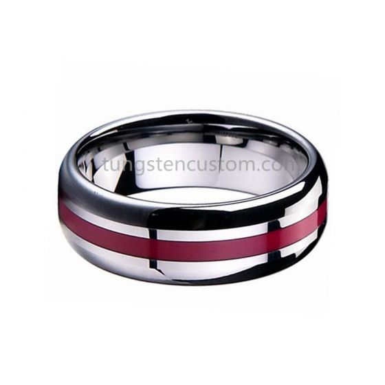 8mm Silver Tungsten Carbide Rings Center Thin Red Line High Polished Men Wedding Band