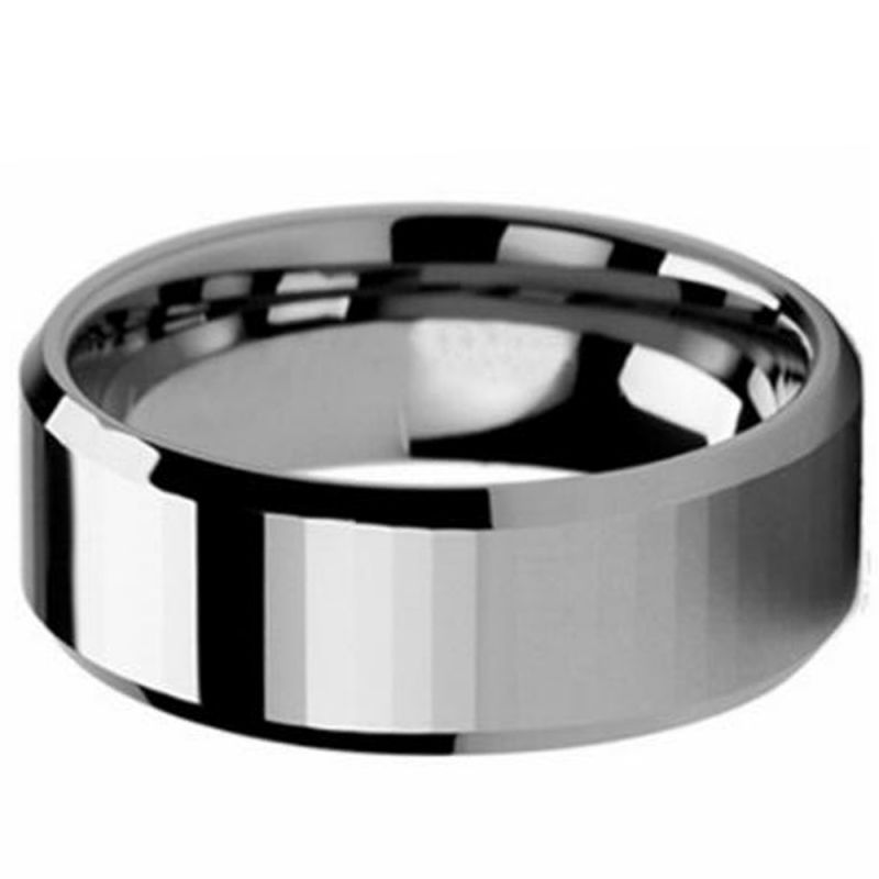 Custom Engraved Personalized Ring Tungsten Wedding Band Men/'s 8MM  Faceted Center Beveled Edges Tungsten Ring CT465RTN