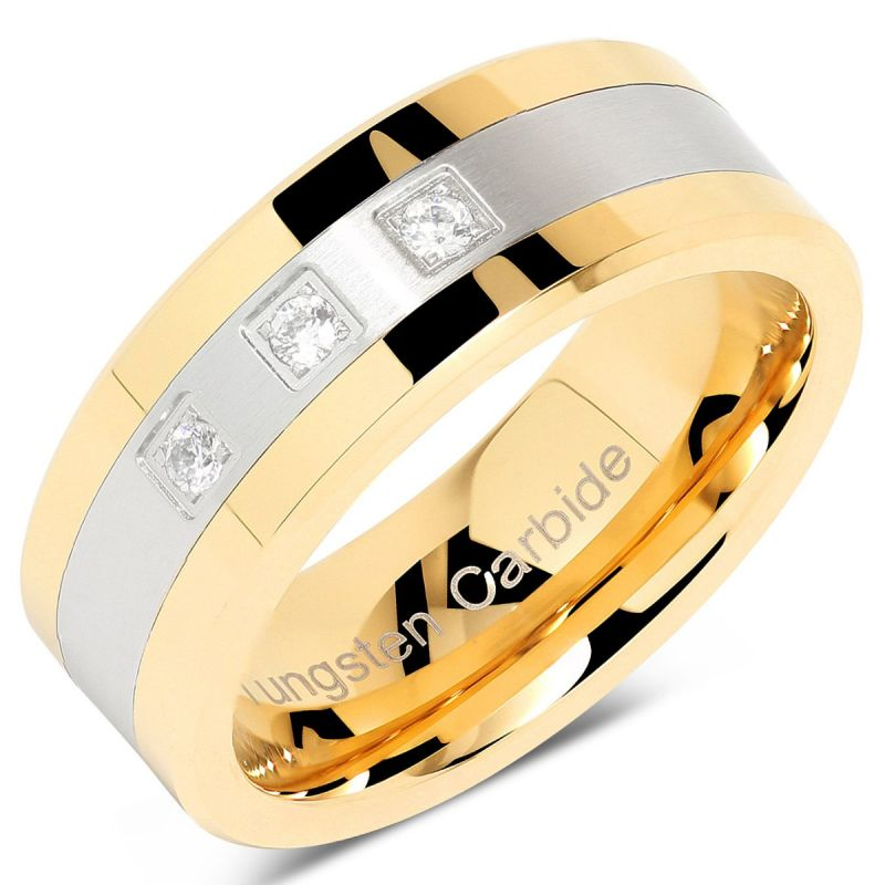 Mens Women Tungsten Ring For Men Womens Gold Silver Crystal Wedding Bands Two Tone 3 Cz Stone Promise Marriage Couple Rings For Width 4mm 6mm 8mm 10mm