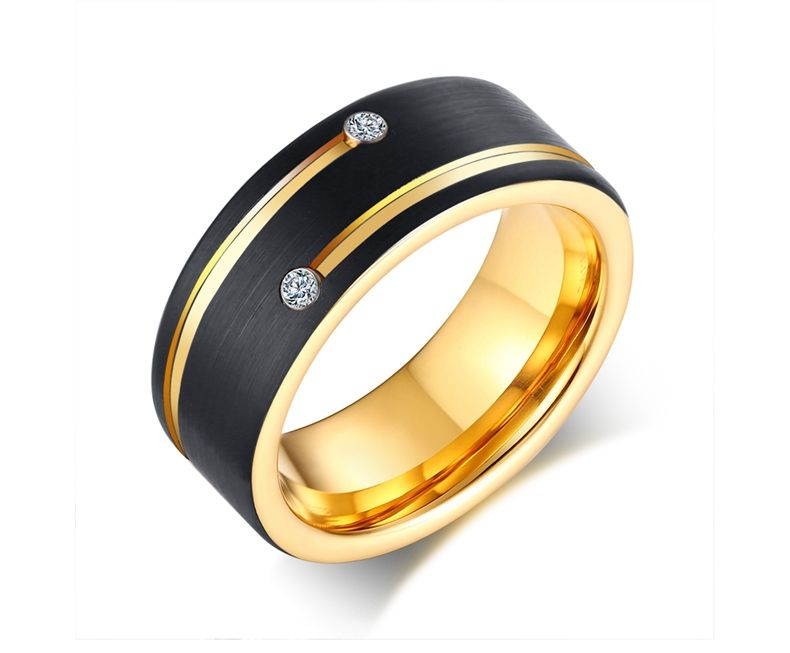 8mm Tungsten Carbide Gold Plated Grooved Ring Size 9 to 13 Tungsten Engraveable Rings Men