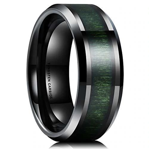 8mm Tungsten Carbide High Polish With Black Beveled Edge Wedding Band Ring For Men Or Ladies
